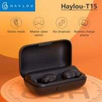 Haylou T15 BLUETOOTH 5.0 TWS Airdots 2200mAh Touch Control Wireless Headphones HD Stereo Noise isolation Bluetooth Earphones With Battery Level Display